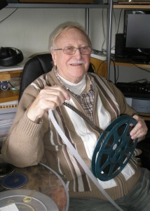 Maurice Adcock with 16mm film of Long Eaton